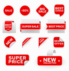Shopping sales and discounts promotional labels vector set