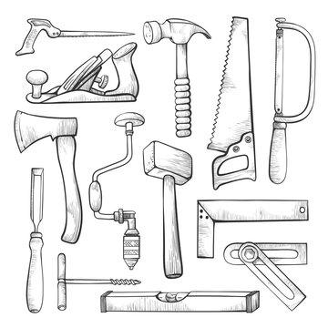Carpentry professional tools hand drawn illustrations set