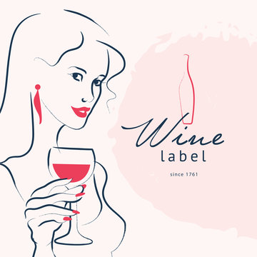 Vector hand drawn portrait of young beautiful lady hold wine glass isolated on white background. Wine logo template. Sketch style. Concept for restaurant logo, bar, happy cocktail hour, wine brand.