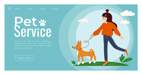 Vector illustration of young cute girl walking with a Basenji dog. Template for pet service, sitter, walker, vet clinic, pet care, hospital, dog shelter. Design for poster, banner, flyer, web, advert.