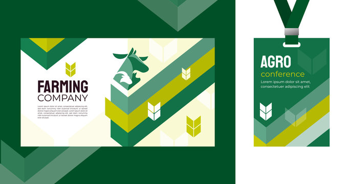 Design template for farming, agriculture, livestock business. Identity for agricultural company, agro conference, forum, event, exhibition. Mockup ID card with strap. Vector illustration for banners.