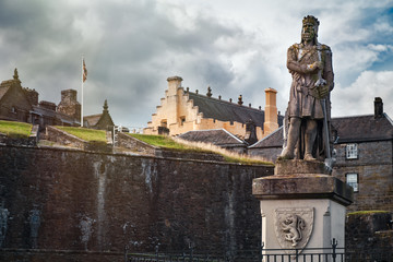 Ancient statue of Robert the Bruce at Stirling Castle in Scotland