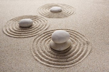 Poster Stones in Sand Japanese zen garden stone for concentration and relaxation sand and rock for harmony and balance