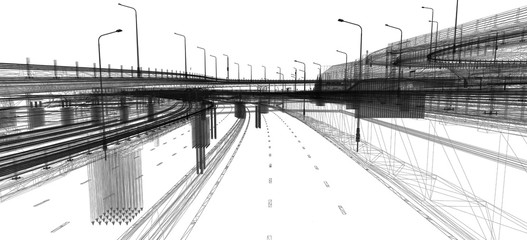 The BIM model of the object of transport infrastructure of wireframe view