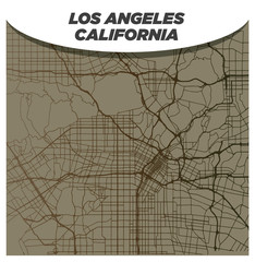 Vintage Brown and Beige Street Map of Central Los Angeles