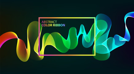 Rainbow waves over dark background. Vector illustration.