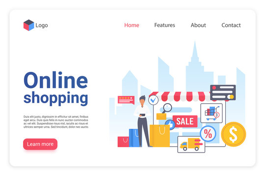 Internet shopping landing page flat vector template. Online ecommerce marketplace website design layout. Internet store webpage cartoon concept. Retail merchandising. Webshop interface