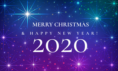 Merry Christmas and Happy New Year 2020 beautiful fairytale greeting card