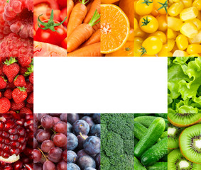 Frame of color fruits and vegetables