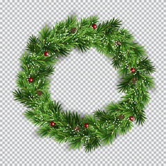 Christmas wreath on transparent background. Vector Illustration