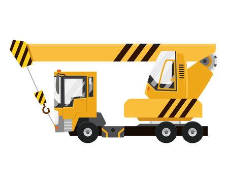 Vector drawing elevating the crane car. Mobile crane truck.