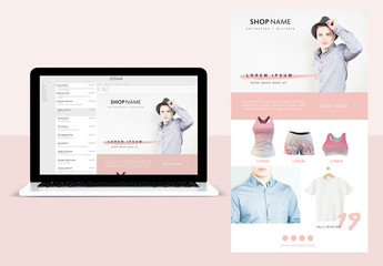 Web Layout with Peach Brushstroke Elements and Accents