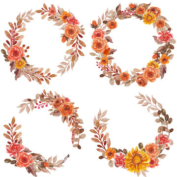 Watercolor Floral wreath set red orange yellow