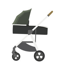 green baby carriage vector illustration