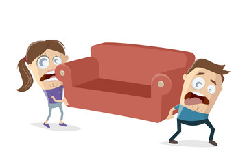 funny cartoon couple is moving an has to lift a heavy sofa