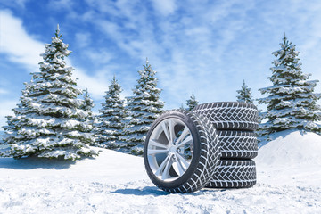 Fotorolgordijn Blauwe hemel Snow tires on winter landscape background