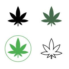 Cannabis, marijuana leaf line icon