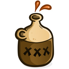 A jug of moonshine vector icon illustration splashing droplets of hard liquor from the open top