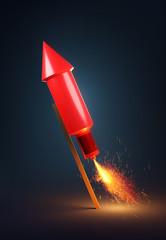 Single Red Firework Rocket