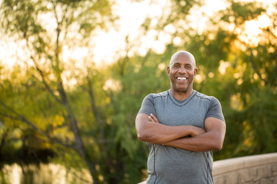 Portrait of a fit mature African American man
