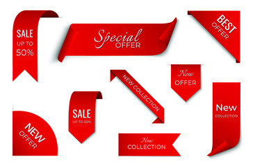 set of red sale ribbon banner. label design. isolated vector tag images