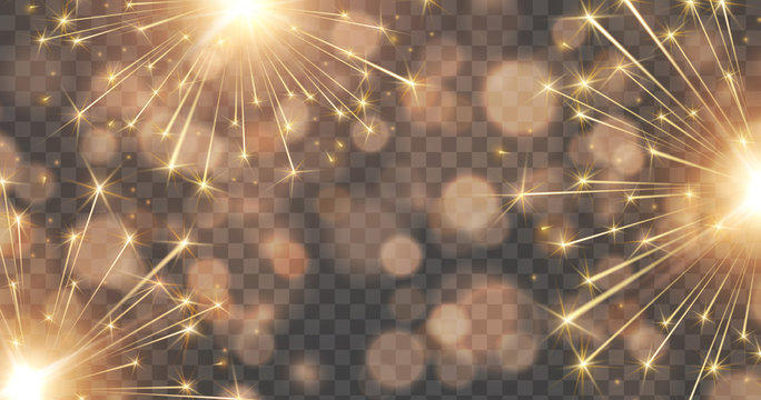 Fireworks and bokeh lights effect isolated on transparent background. Vector golden New Year rockets or Christmas bokeh sparkle banner