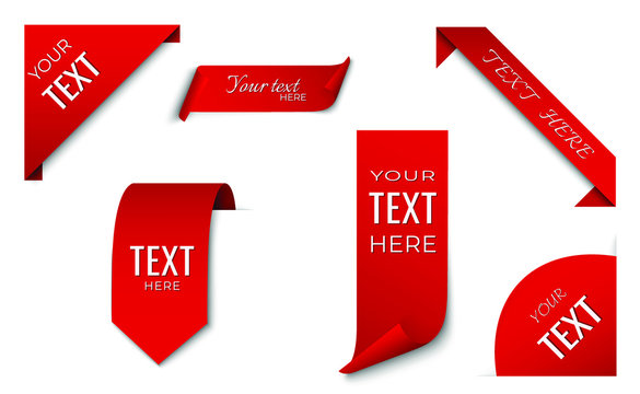 set of red ribbon and corner banner template. tag design. isolated vector image