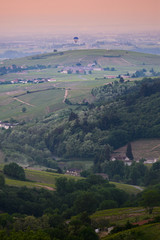 Balloon flight over landscapes of Beaujolais, France