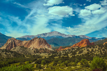Beautiful Colorful Pikes Peak Mountain range and Garden of the Gods Rock Garden