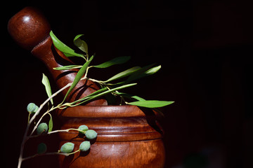 A mortar with wooden pestle against a tiled dark rustic background and an olive branch with green fresh olives on it