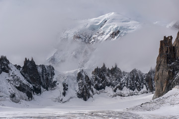The summit of Monte Bianco in the Alps seen from the Geant Glacier at the boundary between Italy and France