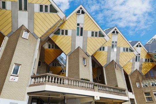 ROTTERDAM, THE NETHERLANDS - SEPTEMBER 17, 2019: Cube houses, fa