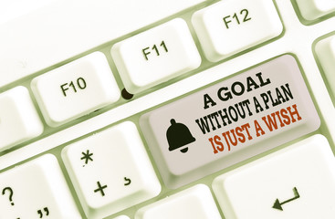 Writing note showing A Goal Without A Plan Is Just A Wish. Business concept for Make strategies to reach objectives White pc keyboard with note paper above the white background