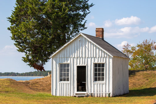 historic cabin at point lookout state park in scotland saint marys county southern maryland usa