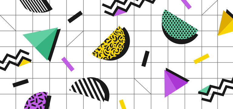 Background in the style of the 80s with multicolored geometric shapes on the white background. Illustration for hipsters Memphis style