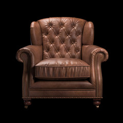Brown leather chair on black background. Front view. 3d Rendering