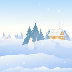 Photo sur Plexiglas Cute snowman and snow covered winter village