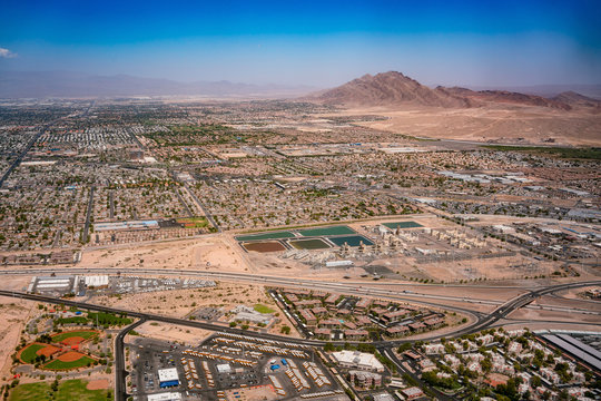 Aerial view of the Las Vegas cityscape