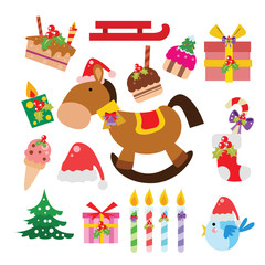 Christmas icon, Elements and Decoration Vector cartoon set