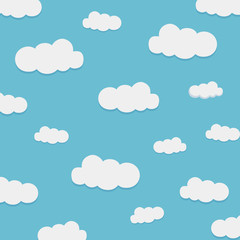 light blue sky white clouds vector illustration. Sky background