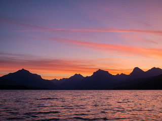 Beautiful sunrise of the Lake Mcdonald