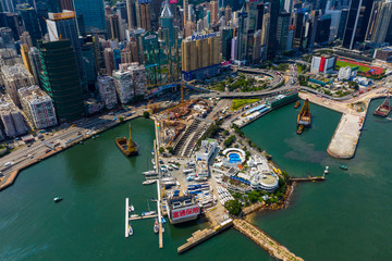 Wall Mural -  Drone fly over of Hong Kong island side