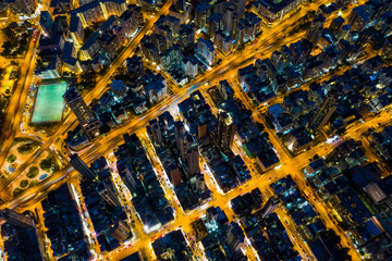 Fototapete -  Top view of Hong Kong city at night