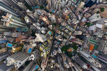 Fotomurales - Aerial view of Hong Kong downtown city
