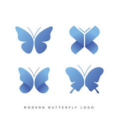 set of four modern butterfly logo concept