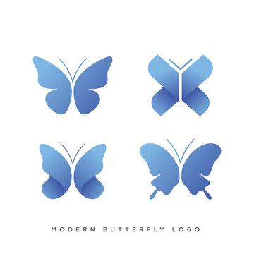 set of four modern butterfly logo design vector