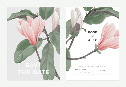 Floral wedding invitation card template design, pink Anise magnolia flowers on grey and white, pastel vintage theme