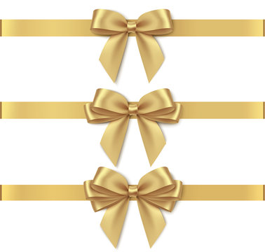 Set of decorative golden bows with horizontal yellow ribbon isolated on white background. Vector illustration