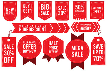 Set ribbon banner and label sticker sale offer and badge tag sale advertising Fotobehang