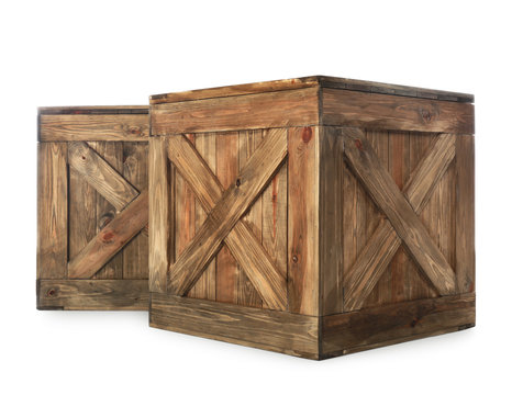 Old closed wooden crates isolated on white